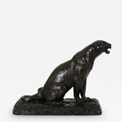 Adolphe Louis Victor Geoffroy Roaring Jaguar French Modernism Bronze Sculpture by Adolphe Geoffroy