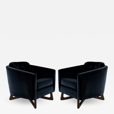 Adrian Pearsall Adrian Pearsall Lounge Chairs in Navy Blue Velvet circa 1950s