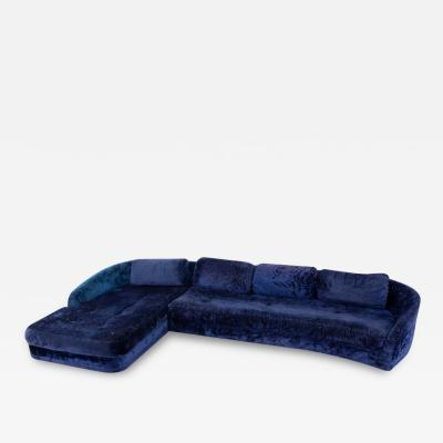 Adrian Pearsall Adrian Pearsall Mid Century Blue Crushed Velvet Sectional