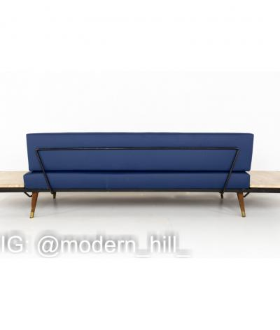 Adrian Pearsall Adrian Pearsall Mid Century Platform Sofa with Travertine Side End Tables