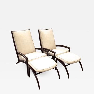 Adrian Pearsall Adrian Pearsall Pair of Lounge Chairs and Ottoman Restored in Neutral Cloth