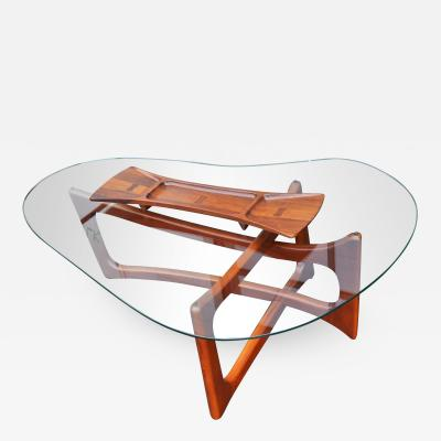 Adrian Pearsall Adrian Pearsall Ribbon Coffee Table w Kidney Glass Top