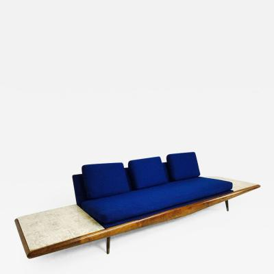 Adrian Pearsall Adrian Pearsall Sofa with Built In Travertine Side Tables