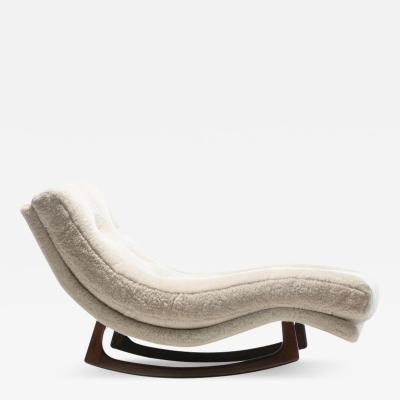 Adrian Pearsall Adrian Pearsall Waive Chaise Rocker Lounge in Ivory Shearling with Walnut Legs