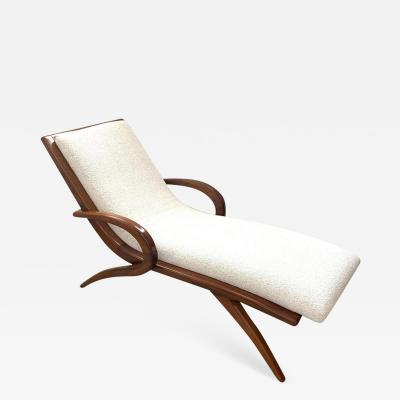 Adrian Pearsall Adrian Pearsall Walnut and Boucle Wave Chaise Lounge USA 1960s