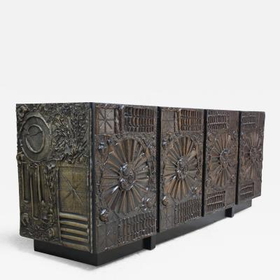 Adrian Pearsall Brutalist Four Panel Credenza by Adrian Pearsall for Craft Associates