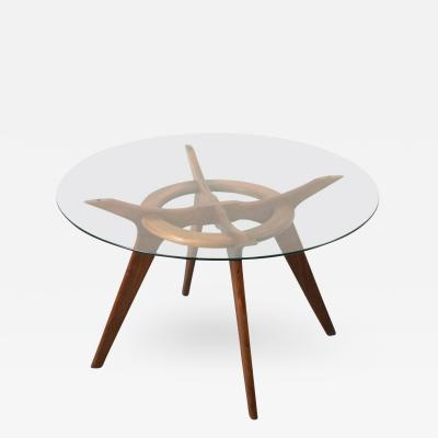 Adrian Pearsall Elegant Walnut and Glass Dining Table by Adrian Pearsall