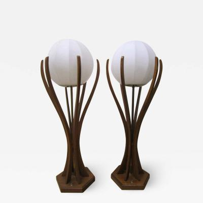Adrian Pearsall Excellent Pair of Danish Modern Sculptural Walnut Lamps Mid Century Modern