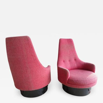 Adrian Pearsall Lovely Pair of High Back Swivel Lounge Chairs Adrian Pearsall Mid Century Modern