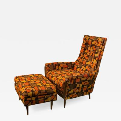 Adrian Pearsall MID CENTURY ADRIAN PEARSALL LOUNGE CHAIR AND OTTOMAN WITH ORIGINAL MOD FABRIC