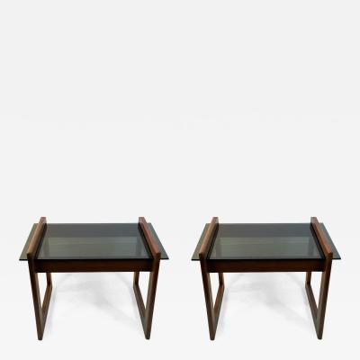 Adrian Pearsall MODERN PAIR OF WOOD AND GLASS TABLES BY ADRIAN PEARSALL