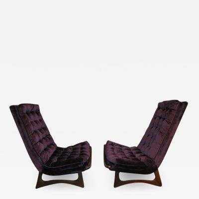Adrian Pearsall Magnificent Pair of Adrian Pearsall Tall Tufted Sculptural Walnut Scoop Chairs