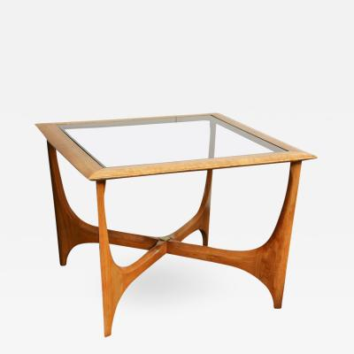 Adrian Pearsall Mid Century Adrian Pearsall Side Table With Smoked Glass Top