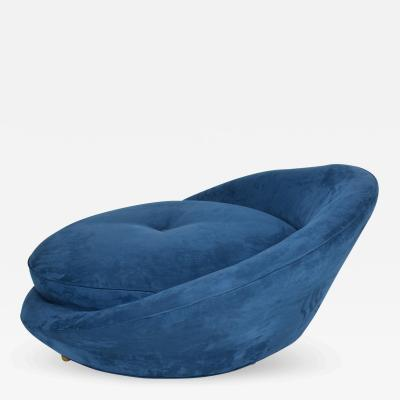 Adrian Pearsall Mid Century Modern Adrian Pearsall Large Lounge Chair in Blue Velvet
