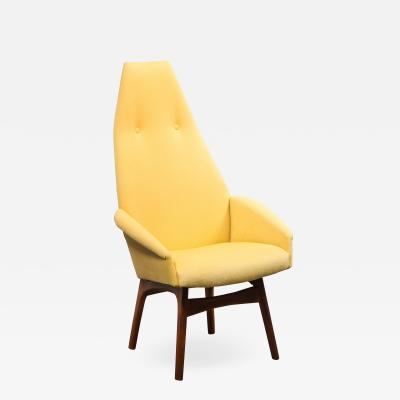 Adrian Pearsall Mid Century Walnut Back Chair in Yellow Loro Piana Cashmere by Adrian Pearsall