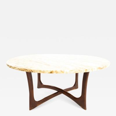 Adrian Pearsall Mid Century Walnut and Travertine Top Coffee Table