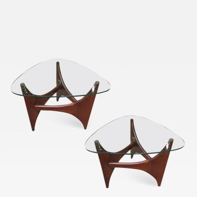 Adrian Pearsall Pair Adrian Pearsall Sculptural Walnut Triangular Side End Table Mid Century
