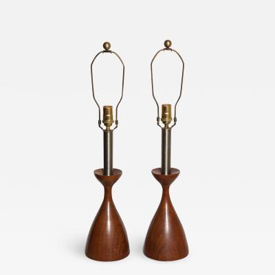 Adrian Pearsall Pair Adrian Pearsall Style Turned Walnut Brushed Steel Candlestick Lamps