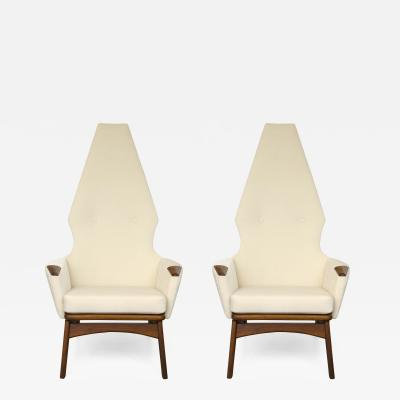 Adrian Pearsall Pair of Adrian Pearsall High Back Chairs
