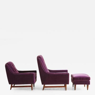 Adrian Pearsall Pair of Adrian Pearsall His and Hers Lounge Chairs and Ottoman in Purple Mohair