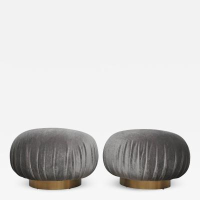 Adrian Pearsall Pair of Adrian Pearsall Swivel Pouf Ottomans on Brushed Brass Bases