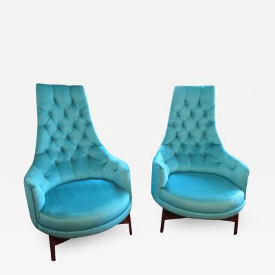 Adrian Pearsall Pair of Adrian Pearsall Tall Back Tufted Sculpted Walnut Base Lounge Chair