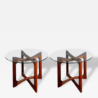 Adrian Pearsall Pair of Adrian Pearsall Walnut and Glass End Tables