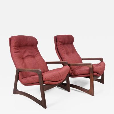 Adrian Pearsall Pair of Adrian Pearsall for Craft Associates Walnut Woven Wool Lounge Chairs