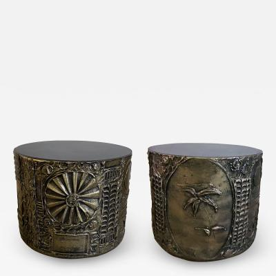 Adrian Pearsall Pair of American Modern Drum Side Tables Adrian Pearsall