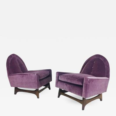 Adrian Pearsall Pair of Purple Velvet Lounge Chairs in the Style of Adrian Pearsall