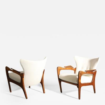 Adrian Pearsall Pair of Sculptural Adrian Pearsall Walnut Chairs 1960s