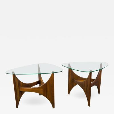 Adrian Pearsall Pair of Walnut and Glass Coffee Tables by Adrian Pearsall