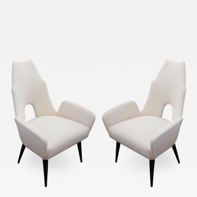 Adrian Pearsall Pair of White High Back Chairs in the Manner of Adrian Pearsall 1960s