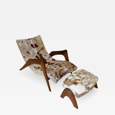 Adrian Pearsall Rare Crescent Lounge Chair and Ottoman by Adrian Pearsall in Cowhide