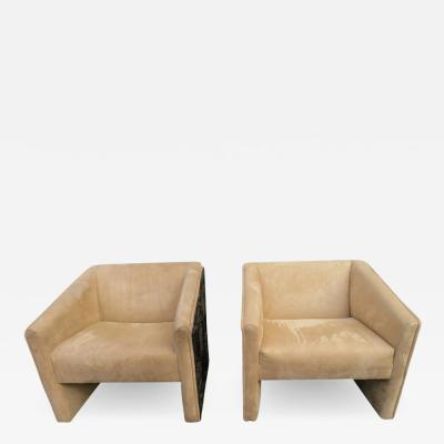 Adrian Pearsall Rare Pair of Adrian Pearsall Brutalist Cube Lounge Chairs Mid Century Modern