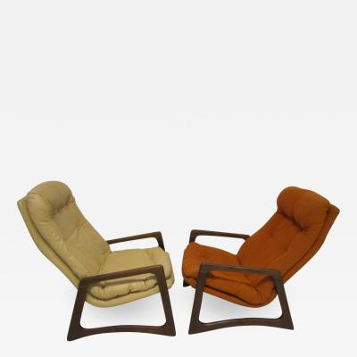 Adrian Pearsall Sculptural Pair of Adrian Pearsall Walnut Lounge Chairs Mid Century Modern