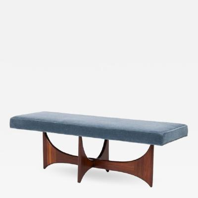 Adrian Pearsall Sculptural Walnut Bench in Blue Mohair