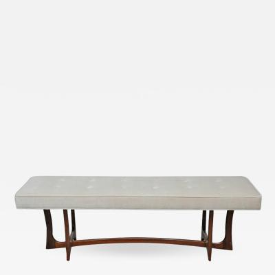 Adrian Pearsall Sculptural Walnut Bench with Cream Upholstery Adrian Pearsall