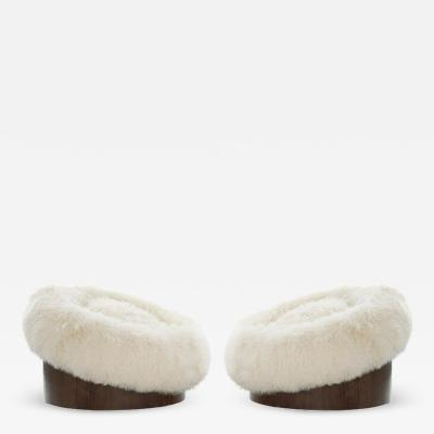 Adrian Pearsall Set of Donut Swivel Lounges in Mongolian Wool by Adrian Pearsall