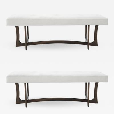 Adrian Pearsall Set of Sculptural Walnut Benches c 1950s