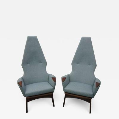 Adrian Pearsall Spectacular Pair of Adrian Pearsall High Back Chairs Mid Century Danish Modern