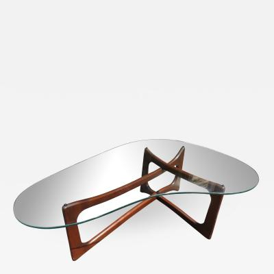 Adrian Pearsall Stunning Adrian Pearsall Sculptural Walnut Kidney Shaped Dogbone Coffee Table