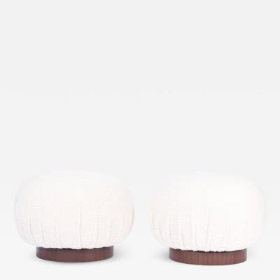 Adrian Pearsall Swivel Pouf Ottomans on Walnut Bases Pair
