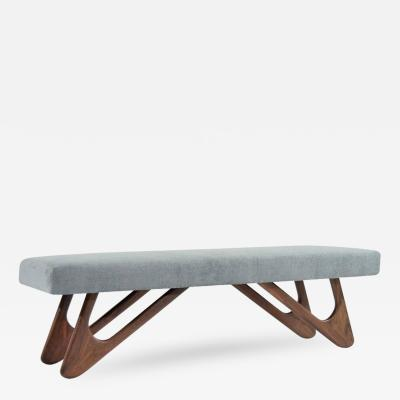 Adrian Pearsall Walnut Boomerang Bench in Grey Chenille