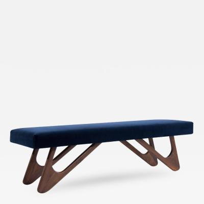 Adrian Pearsall Walnut Boomerang Bench in Navy Velvet