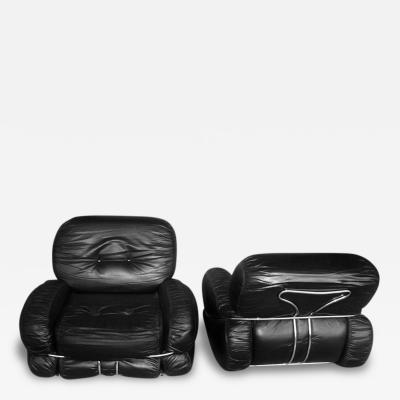 Adriano Piazzesi Pair of Italian Leather Armchairs by Adriano Piazzesi