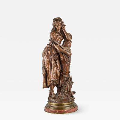 Adrien Etienne Gaudez A Patinated Bronze Sculpture of a Maiden with a Lute