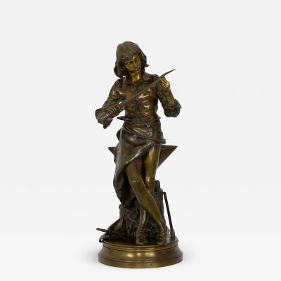 Adrienz tienne Gaudez A Young Bladesmith French Antique Bronze Sculpture by Adrien Etienne Gaudez