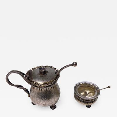 Aesthetic Silver Vermeil Mustard Pot and Salt Germany circa 1890