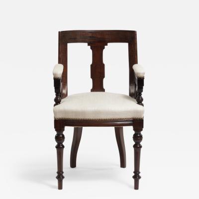 Aesthetic Style Mahogany Armchair with Greek Key Design